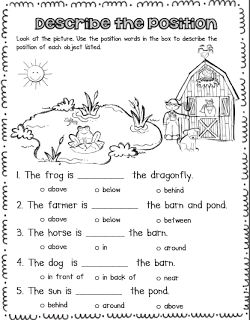 Printables Position Worksheets For Kindergarten spanish force and motion words on pinterest position worksheet