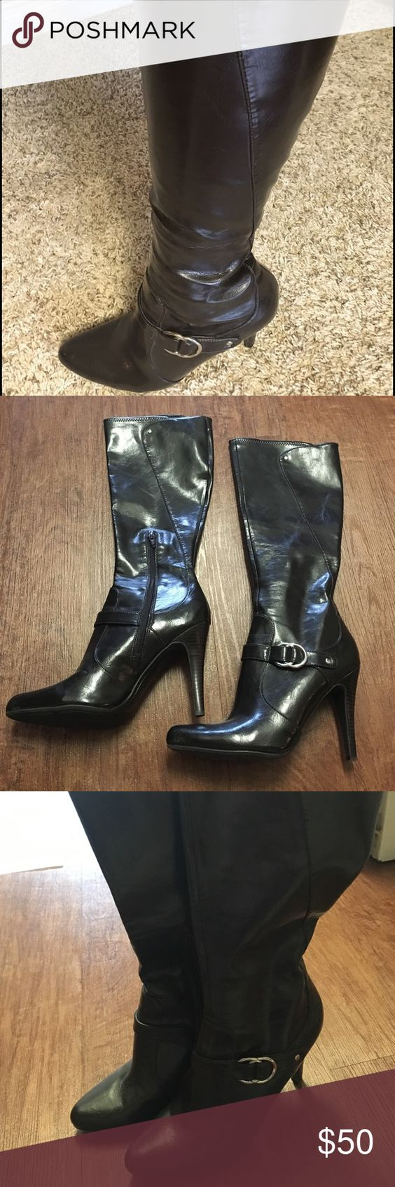 Dark brown heeled leather boots Skin tight tall heeled dark brown leather boots. These boots have been worn once and are in MINT condition. Boots have a modern silver detail to the side of each boot, and the heel is appx 4 inches . Size 9 1/2 Marc Fisher Shoes Heeled Boots