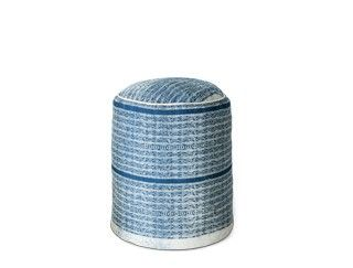 BEDROOM 1: POUF/SIDE TABLE Herbert blue cotton dhurrie contemporary style pouffe – Swoon Editions