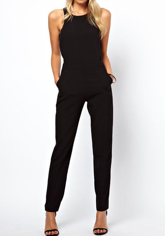 Black Plain High Waist Long Dacron Jumpsuit Pants