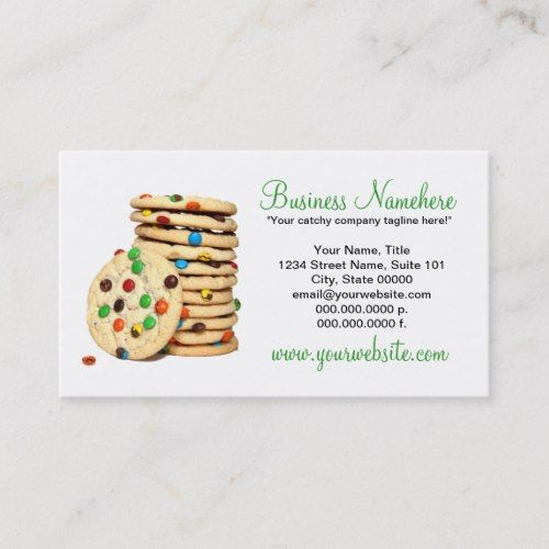 Cookies Business Cards Zazzle Com Cookie Business Bakery Business Cards Templates Shaped Business Cards