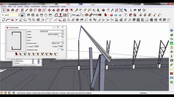 Crear perfil cajon con perfiles C120x60x2mm en Sketchup