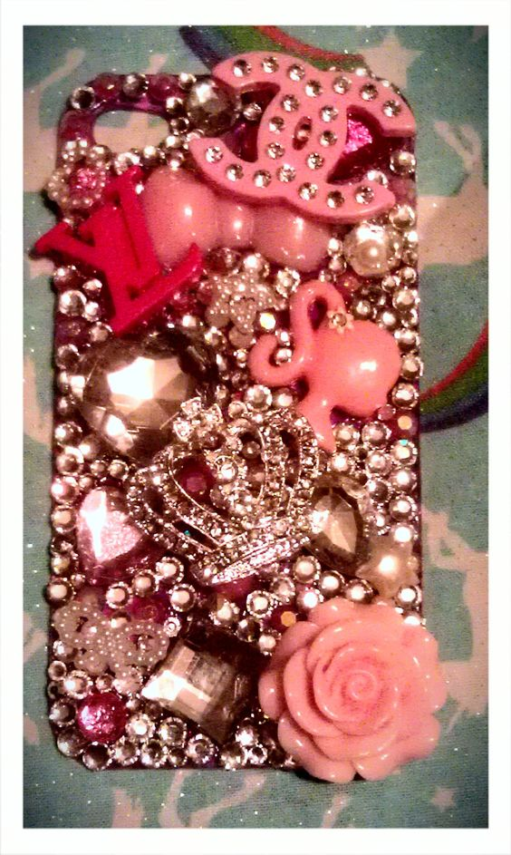 www.etsy.com/... Custom Rhinestone Bling Decoden Phone Portfolio (with coupon code for 50% off next order). $45.00, via Etsy.