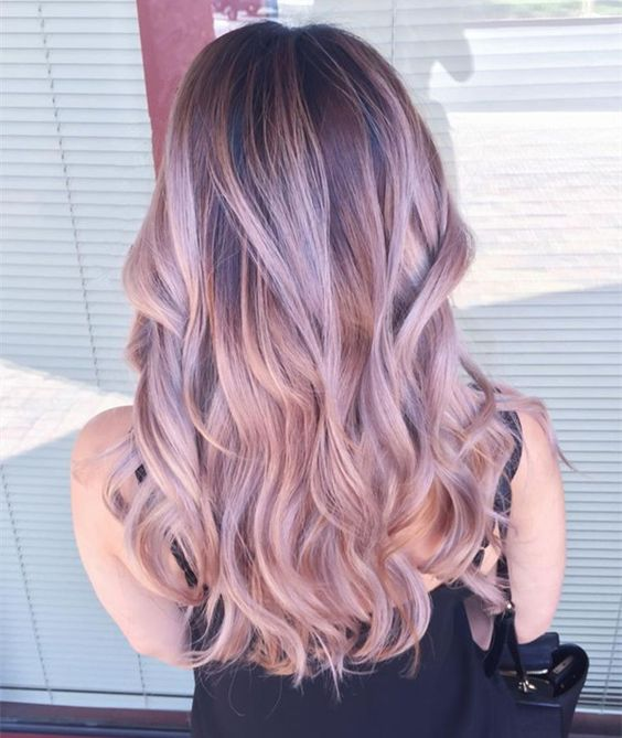 Pastel pink ombre balayage hairstyle for dark hair color,trend of 2015 summer: