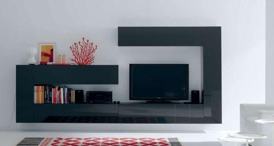 Salons on pinterest for Mueble salon lacado alto brillo