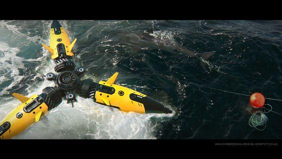 ROV, sub, robot, drone, robotics, mech, tech, sketchup, keyshot, render, 3D, concept art, film, movie