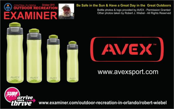 AVEX travel mug and water bottles at the 2015 Surf Expo