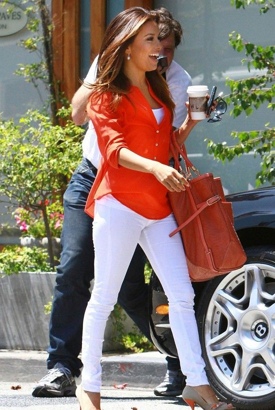 Cute orange shirt love it with the pop of white!