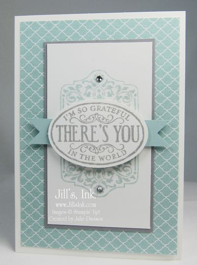 "Stamps:  Chalk Talk Ink:  Smoky Slate, Soft Sky  Paper:  Whisper White, Soft Sky, Smoky Slate, Subtles DSP Stack, Note Cards & Envelopes Other:  Extra-Large Oval Punch, 1"" Square Punch, Rhinestone Basic Jewels, Dimensionals"