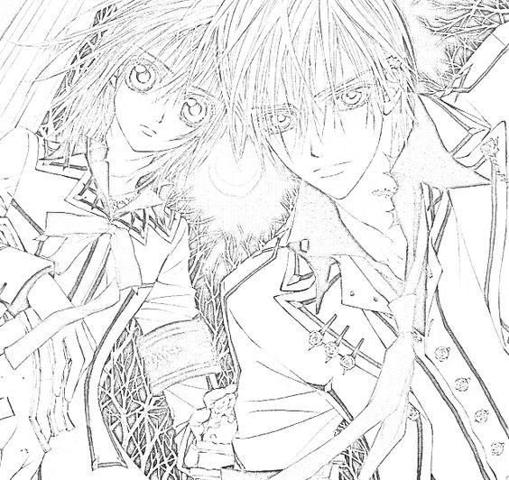 Vampire f rben and vampire knight on pinterest for Vampire knight coloring pages