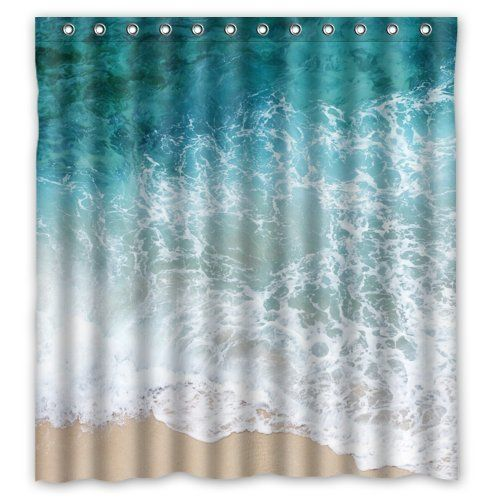 """Best price on 66""""(Width) x 72""""(Height) Sea Water Shower Curtain, Beach Shore Wave Theme Design 100% Polyester Bathroom Shower Curtain Shower Rings Included -Best Visual Enjoyment For You //   See details here: http://bestbathroomsreviews.com/product/66width-x-72height-sea-water-shower-curtain-beach-shore-wave-theme-design-100-polyester-bathroom-shower-curtain-shower-rings-included-best-visual-enjoyment-for-you/ //  Truly a bargain for the inexpensive 66""""(Width) x 72""""(Height) Sea Water…"""