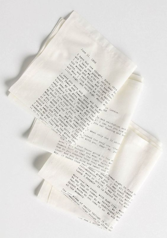 Letterology: Literary Table Napkins. Press you lips to this!  how cool is this...something to read while waiting for dinner
