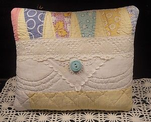 Charming Keepsake PILLOW made from Antique QUILT - with Vintage Lace and Button