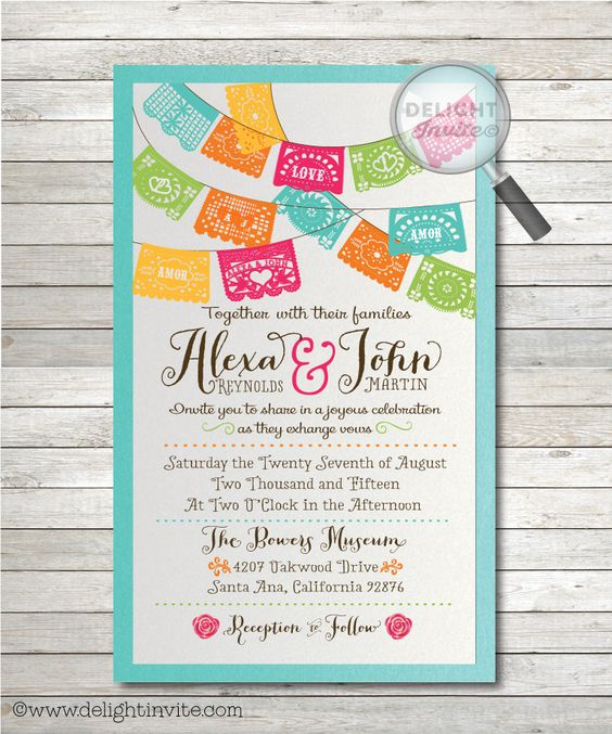 Mexican Fiesta Paper Flags Wedding Invitations - Click Image to Close