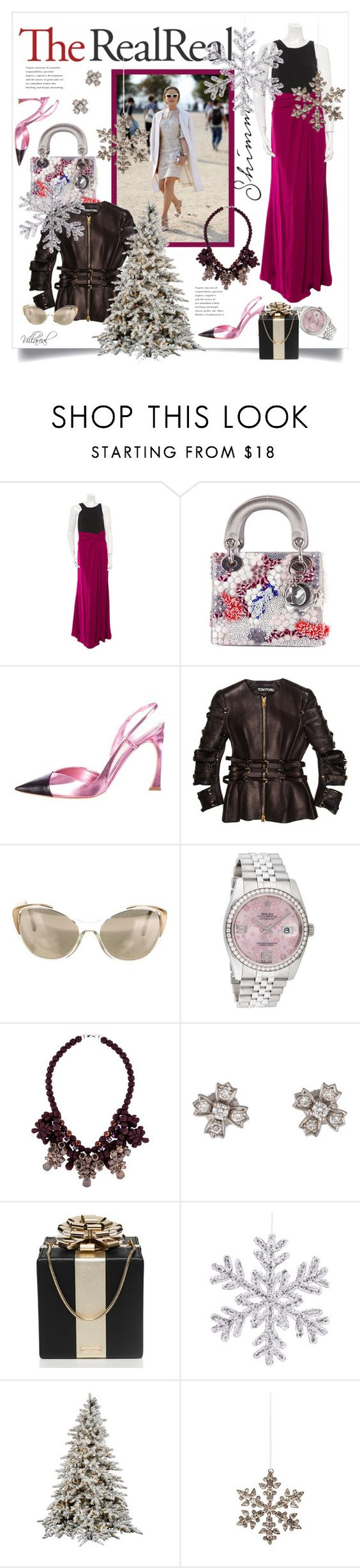 """Holiday Sparkle With The RealReal:Contest Entry"" by riza-villareal ❤ liked on Polyvore featuring David Meister, Christian Dior, Tom Ford, Dolce&Gabbana, Rolex, Ek Thongprasert, Tiffany & Co., Kate Spade and Shishi"
