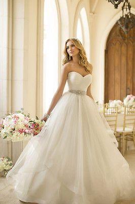 Simply New Sweetheart White/Ivory Beading Organza Wedding Dress Custom All Size