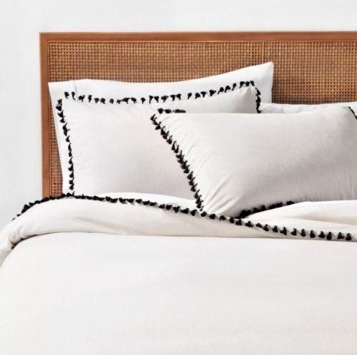 White Boho Black Yarn Dyed Tassel Trim Duvet Cover Set Sham Full Queen Opalhouse Opalhouse Bohemian Duvet Cover Sets Duvet Duvet Cover Master Bedroom
