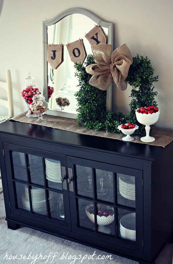 Simple & Festive Entranceway Decor--mirror w/mini burlap bunting, tabletop…: