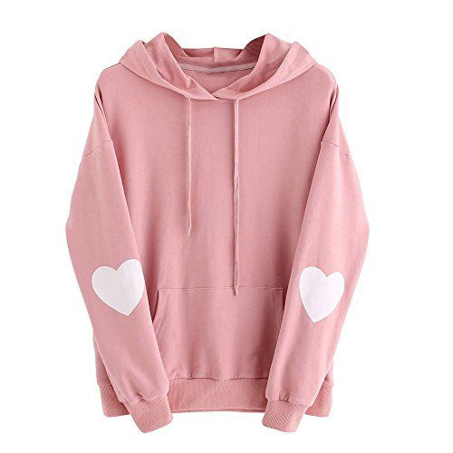 Women Hoodies Finger Heart Print Casual Loose Drawstring Sweatshirt Tops