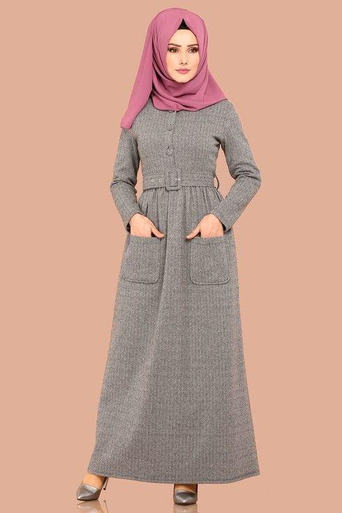 Elbise Dugmeli Kislik Elbise Ukb4029 Gri Elbise Modelleri Elbiseler Kiyafet