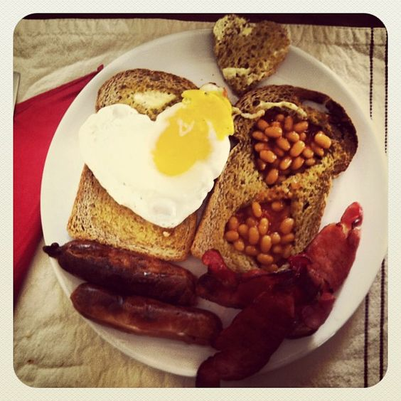 Valentines Day Breakfast from my gorgeous wife. Heart-shaped everything! I could sooo eat this right now.