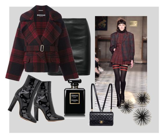 """Untitled #138"" by stylish-at-50ish ❤ liked on Polyvore featuring The Row, Gianvito Rossi, Rochas, Chanel, blackboots and redplaidjacket"