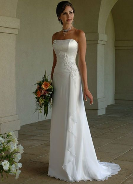 dresses casamento Picture , More Detailed Picture about New Design Simple Vestidos 2016 White Applique Beading Strapless Robe De Mariage Chiffon Beach