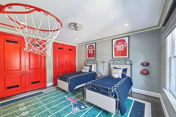 Sports themed boys' room styled by Grace Thomas Designs  #football #basketball #kidsbedroom #fabulousandfunctional #design