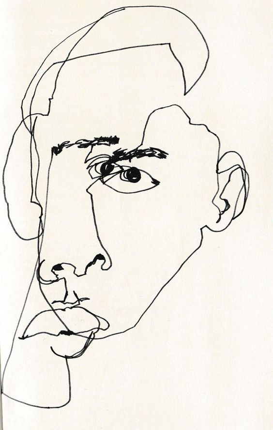 February James - Blind Contour Line Drawing:
