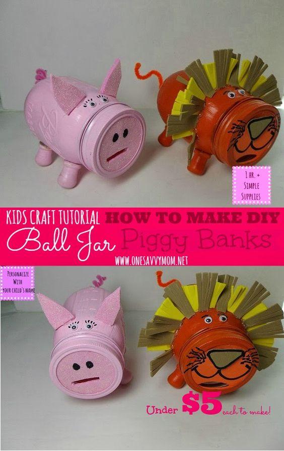 Mom jars and cute piggies on pinterest for Make a piggy bank craft