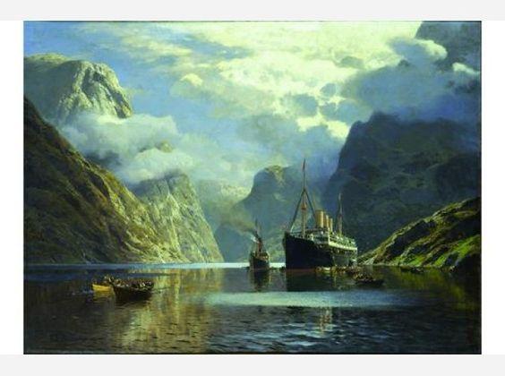 """Das Dampfschiff """"Auguste Victoria im Nærøyfjord"""", 1900, von Themistokles von Eckenbrecher."""