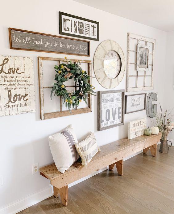 11 Farmhouse Wall Decor Ideas Nikki S Plate Blog In 2021 Gallery Wall Living Room Family Wall Decor Gallery Wall Decor