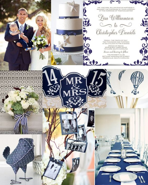 Navy and White Classic Preppy-Chic Wedding Inspiration, add the coral and mint splashes and you have it made! And MORE WHITE!