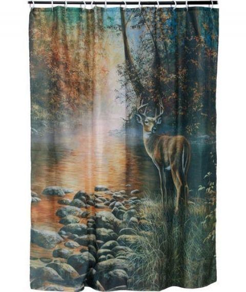 Whitetail Deer Shower Curtain Beside Still Water Deer Shower Curtain Shower Curtain Lodge Shower Curtain