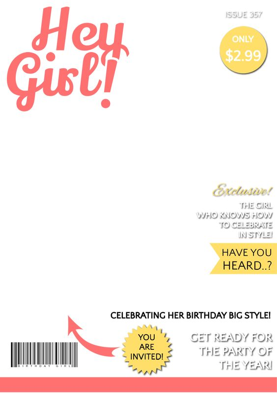 Hey Girl Magazine Cover - Free Printable Birthday Invitation ...