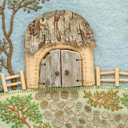 Fabric 'n stuff collage by Salley Mavor. Reminds me a little of a hobbit house!
