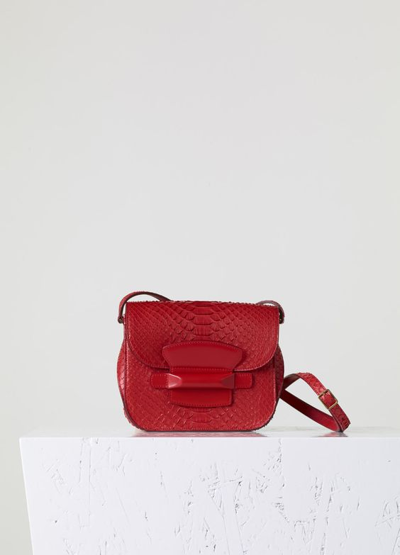 celine mini luggage replica - Small Tab Bag in Bright red Python - Fall / Winter Collection 2015 ...