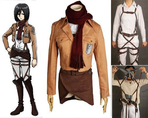 Mikasa Ackerman Character Custom Cosplay Costume Outfit from Attack on Titan