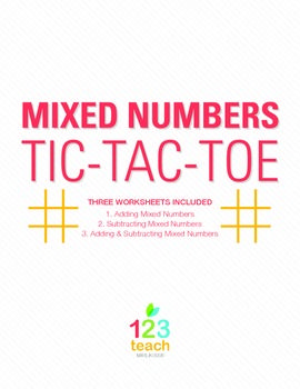 math worksheet : fraction mixed numbers review game  partner activity tic tac  : Adding Subtracting Mixed Numbers Worksheet