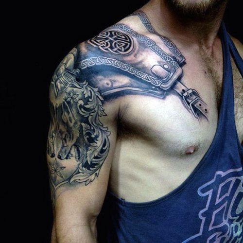 125 Best Half Sleeve Tattoos For Men Armour Tattoo Mens Shoulder Tattoo Shoulder Armor Tattoo