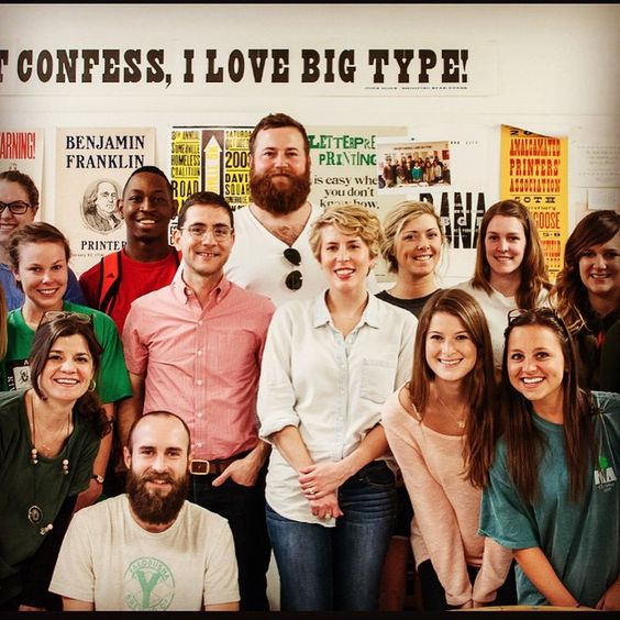 @theoldtry and @luckyluxecouture visit yesterday with @umartdept #letterpress students @olemiss
