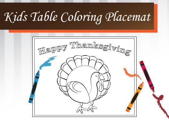 Free Printable Thanksgiving Coloring Placemat for Kids