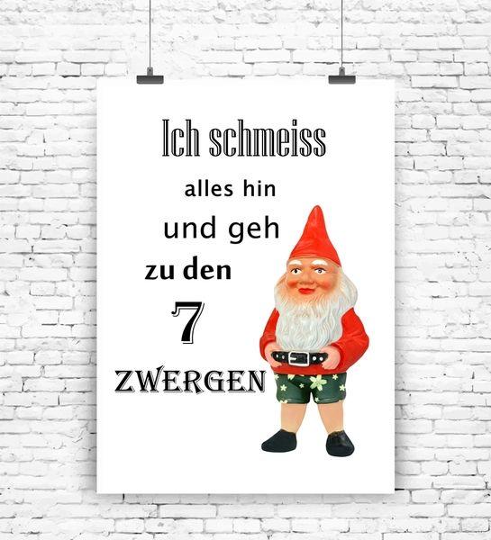 """""""Ich geh zu den 7 Zwergen"""" Kunstdruck  von MilaLu auf DaWanda.com"""