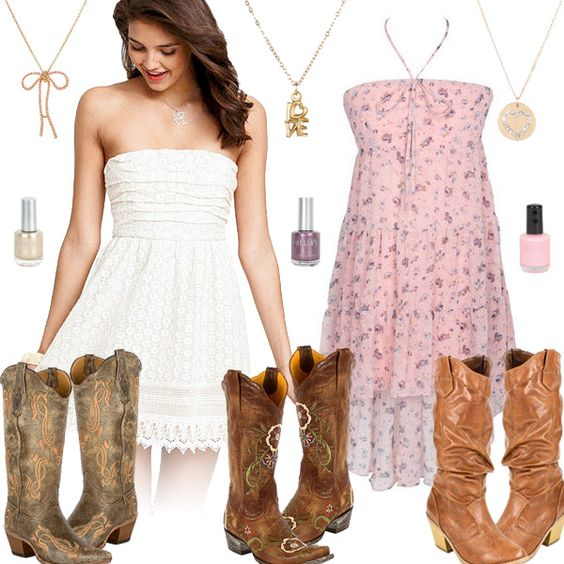 Cute Girly Cowboy Boots With Dresses | style collages | Pinterest ...