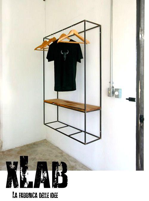 Appendiabiti da parete in ferro stile vintage made in italy xlab mobili arredamento su misura - Appendiabiti a parete ikea ...