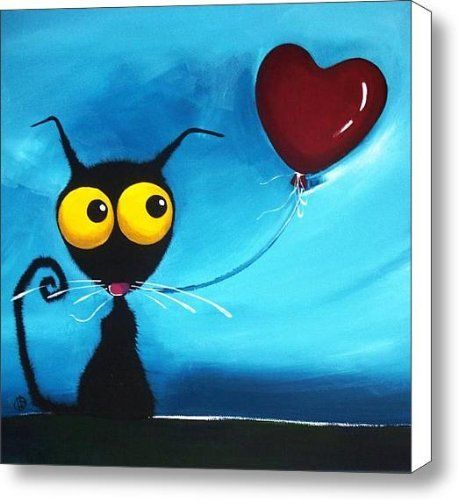 Stressie Cat and her love balloon Canvas Print / Canvas Art - Artist Lucia Stewart by Fine Art America, http://www.amazon.com/dp/B006AGPCCE/ref=cm_sw_r_pi_dp_jYLXrb0JRZNAK
