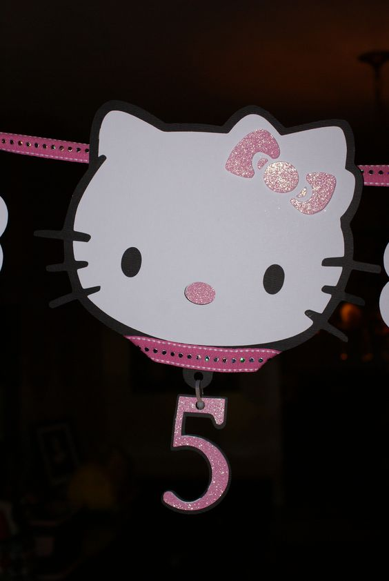 Hello Kitty Birthday banner made with cricut
