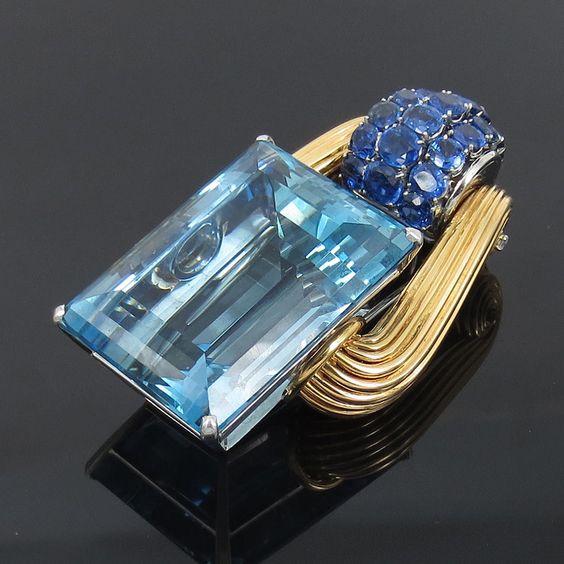 1940 Oscar Heyman 165.50ct Aquamarine 13.38ct Sapphire & Dia Platinum 18K Brooch #OscarHeymanBro