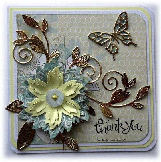 Thank you card, MME wildflower paper, spellbinders Aster and romantic vines dies