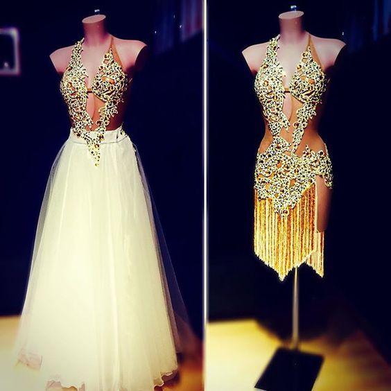 Great design with Latin fringe and lace and a tulle skirt for Ballroom - #ABRAHAMMARTINEZ #dance #latin #swarovski #whiteandgold